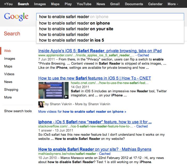 Google搜索截图:如何激活阅读模式